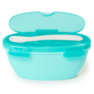 Easy-Serve Travel Bowl & Spoon- Grey/Soft Teal