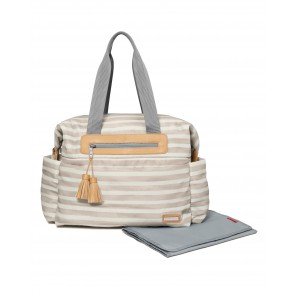 Riverside Ultra Light Diaper Satchel - Oyster Stripe