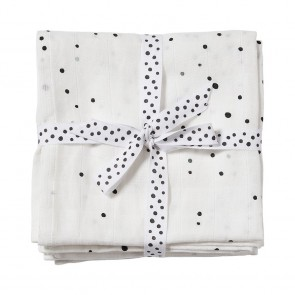Burp cloth, 2-pack, Dreamy dots, white