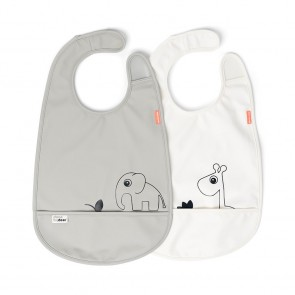 Done by Deer - Bib w/velcro 2-pack Deer friends Grey/Beige