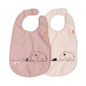 Done by Deer - Bib w/velcro 2-pack Deer friends Powder