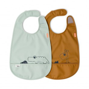 Done by Deer - Bib w/velcro 2-pack Deer friends Mustard/Green