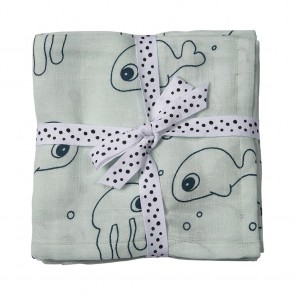Done by Deer - Swaddle, 2-pack, Sea friends, blue