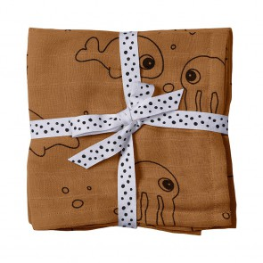 Done by Deer - Swaddle, 2-pack, Sea friends, mustard