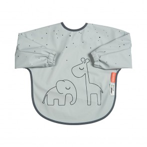 Done by Deer - Sleeved bib 6-18m, Dreamy dots, grey