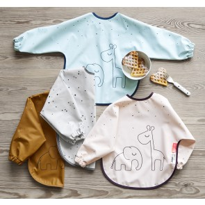 Done by Deer - Sleeved bib 6-18m, Dreamy dots, powder