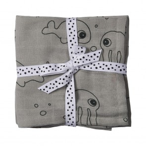 Done by Deer - Burp cloth, 2-pack, Sea friends, grey
