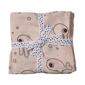 Done by Deer - Burp cloth, 2-pack, Sea friends, powder