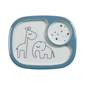 Done by Deer - Yummy mini compartment plate, Dreamy dots, blue