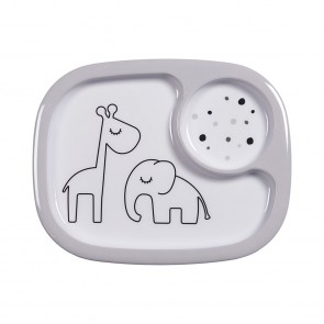 Done by Deer - Yummy mini compartment plate, Dreamy dots, grey
