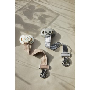 Elodie - Pacifier Clip Stone Silver