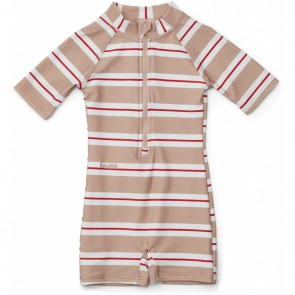 Liewood - Max Swim jumpsuit Stripe, red/rose