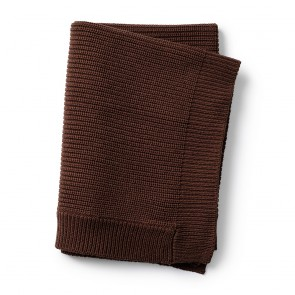 Elodie - Wool Knitted Blanket Chocolate