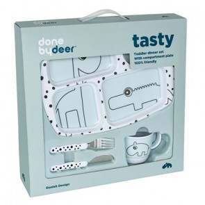 Done by Deer - Toddler dinner set Happy dots, blue