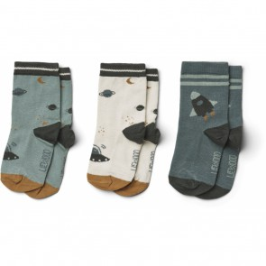 Liewood - Cotton socks - 3 pack, Space blue mix