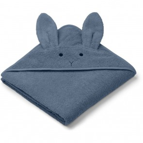 Liewood - Hooded towel, Rabbit blue wave